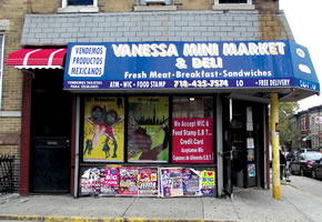Vanessa Mini Market, 4523 6th Ave, Brooklyn, NY with poster designs for Heineken by Maria Dominguez for Bodega Cultural NYC