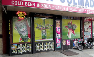 Deli&Grocery, 5621 6th Ave, Brooklyn, NY with poster designs for Heineken byMaria Dominguez for Bodega Cultural NYC