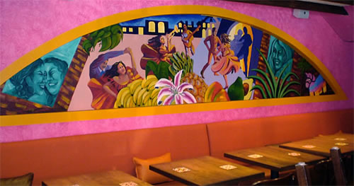 &quot;Alegria Nocturna&quot;, acrylic on concrete, 3' x 15', 2008<br>for the main dining area of Barrio Restaurant